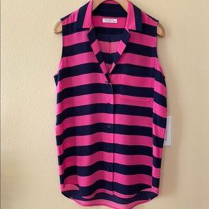 Equipment sleeveless striped silk blouse